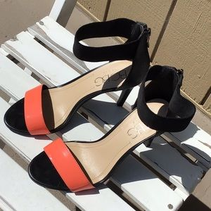 BCBG Guava and Black heeled sandals. Size 6-1/2